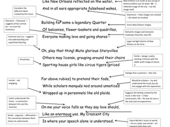 For Sidney Bechet - A3 Annotated Sheet - WJEC AS English Literature