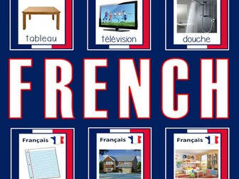 FRENCH AND ENGLISH FLASHCARDS LANGUAGE TEACHING RESOURCES EDUCATION DISPLAY