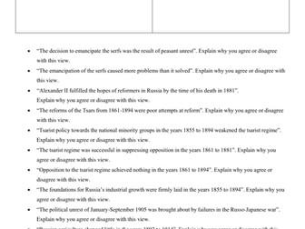 AQA Tsarist and Communist Russia Exemplar Exam Questions