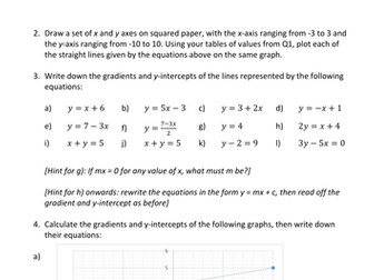 GCSE Straight Line Graph Worksheet by curingd - Teaching Resources - Tes