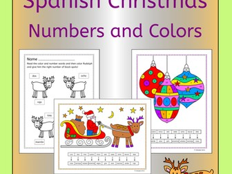 Spanish Christmas Numbers and Colors Activities