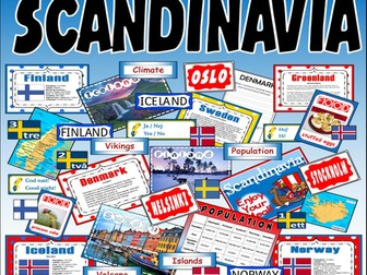 SCANDINAVIA -  RESOURCES KS2-3 GEOGRAPHY MAP DENMARK ICELAND NORWAY FINLAND SWEDEN SWEDISH LANGUAGE