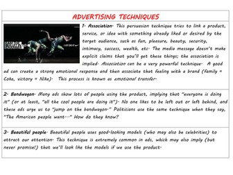 KS3 English - Advertising Techniques - A List of Persuasive Devices used to Influence in the Media