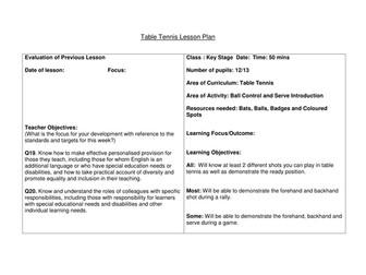Table Tennis Lesson Plan