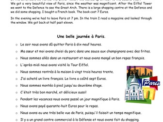 Le Passé Composé A Day In Paris Text Reconstruction By