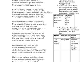 Indigenous Poetry - Perspectives worksheet