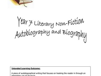 Autobiography and Biography: KS3 Complete SOW and Resources