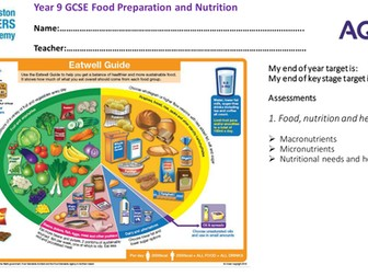 AQA GCSE  Food , Nutrition and Health Theory booklet