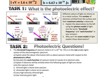 THE PHOTOELECTRIC EFFECT WORKSHEET