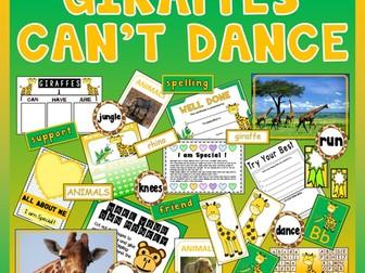 GIRAFFES CAN'T DANCE STORY TEACHING RESOURCES EYFS KS 1-2 ENGLISH LITERACY