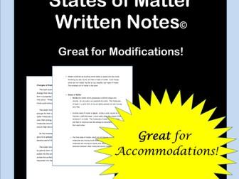 Matter States: Notes