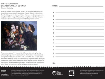 6 Themed 'Write Your Own' Shakespeare Sonnet Worksheets