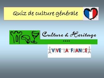 Quiz - Culture générale sur la France