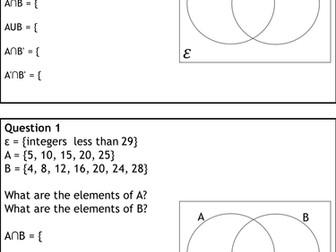 Venn diagram notation resources tes set notation and venn diagrams new 9 1 gcse foundation and higher ccuart Gallery