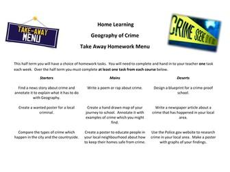 Geography of Crime Take Away Homework Menu