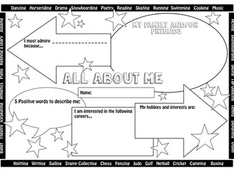 All About Me & Favourite Things Transition / New Class Worksheets