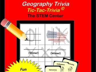 United States Capitals - and Canadian Capitals Tic-Tac-Trivia Game.