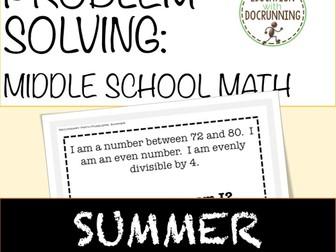 Summer Middle School Math: Summer Problem Solving Puzzlers