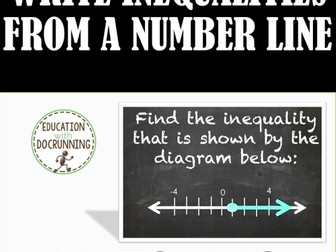 Inequalities: Write an inequality from a number line Task Cards (6.NS.C.7)