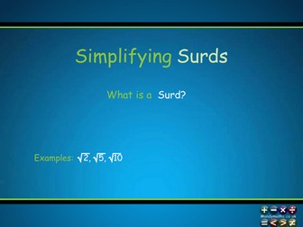 Simplifying Surds Animated PowerPoint  - GCSE