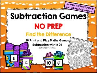 Subtraction Games NO PREP Math Games