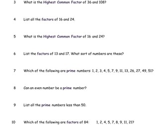 Number Worksheets x 4  GCSE
