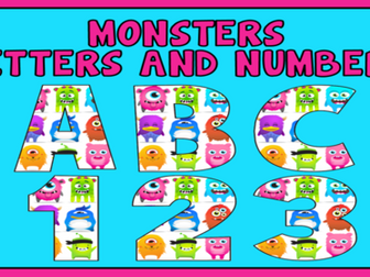 MONSTER THEMED ALPHABET LETTERS & NUMBERS & PUNCTUATION - LITERACY DISPLAY CLASS DOJO