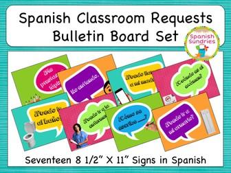 Spanish Classroom Requests Bulletin Board Set