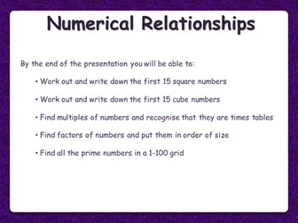 Number Relationships - Multiples, Factors, Primes, Squares, Cubes - Functional Skills L1 L2 GCSE