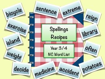 Spellings Recipes - Using Year 3/4 Word List