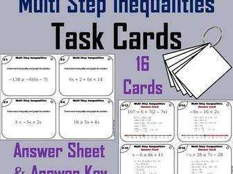 Multi Step Inequalities Task Cards