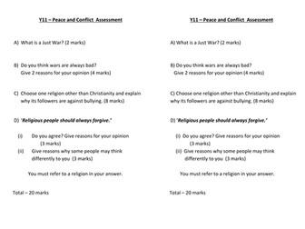 Edexcel Peace and Conflict - Lesson 8: assessment lesson