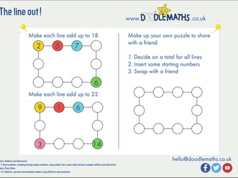 Number puzzles: addition lines