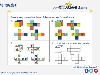 Properties of 3D shapes: nets of cubes