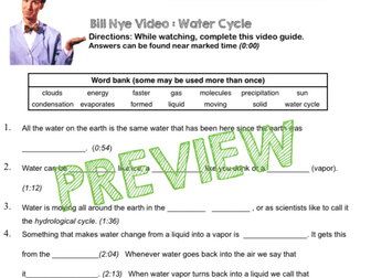Bill Nye Video Questions - WATER CYCLE - w/ time stamp, word ...