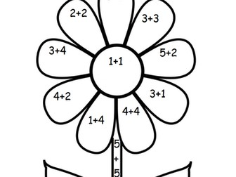 Addition flowers colour by numbers
