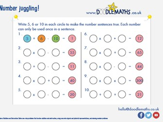 Juggling with numbers: making number sentences with addition, subtraction, multiplication, division