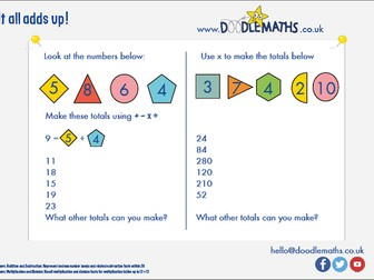 Making number totals using addition, subtraction, multiplication and division