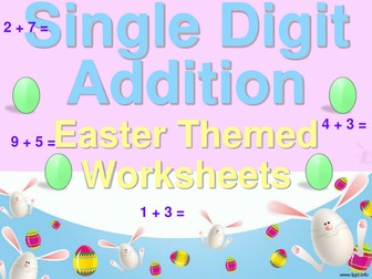 Single Digit Addition - Easter Themed Worksheets - Horizontal