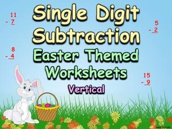 Single Digit Subtraction - Easter Themed Worksheets - Vertical