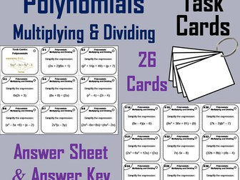 Polynomials Task Cards