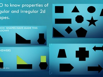 Properties of 2d regular and irregular shapes