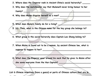 Worksheets Mulan Worksheet ancient china mulan movie worksheet by christiesarah teaching resources tes