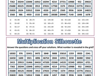 Multiplication Silhouette Activity
