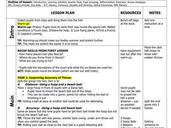 VI Boccia Lesson Plans and Assessment Sheet