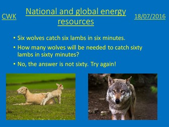 National and Global energy resources lesson presentation and plan