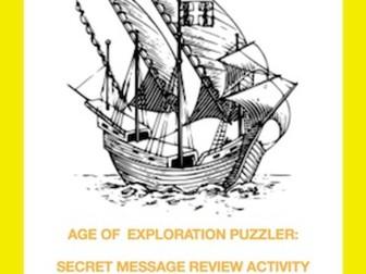 Age of Exploration Puzzler: Secret Message Review Activity