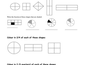 Fractions of Shapes/Adding and subtracting fractions