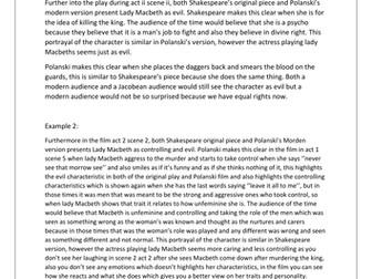 Macbeth: PEE AFL task