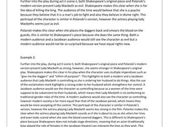 Macbeth: PEE examples